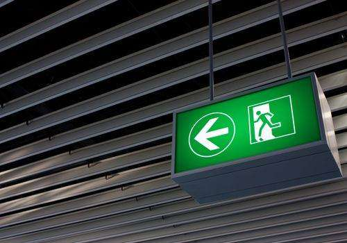 Emergency exit signs should be on at all times